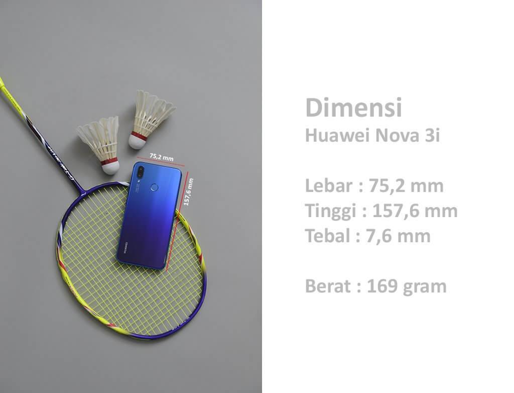 Dimensi Huawei Nova 3i